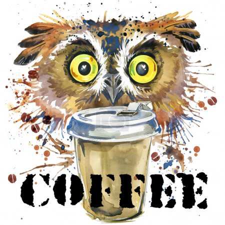 owl T-shirt graphics. coffee and owl illustration with splash watercolor textured background. unusual illustration watercolor owl for fashion print, poster, textiles, fashion design