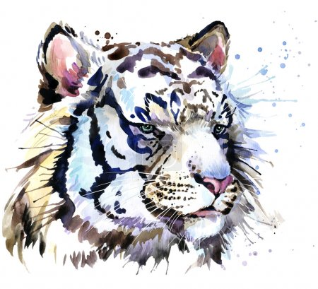 White tiger T-shirt graphics, tiger eyes illustration with splash watercolor textured background. illustration watercolor tiger for fashion print, poster for textiles, fashion design
