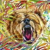 Tropický prales exotické, vrčení medvěda, zelené listy, příroda, akvarel ilustrace. akvarel zázemí neobvyklé exotické přírody. ilustrace medvěd