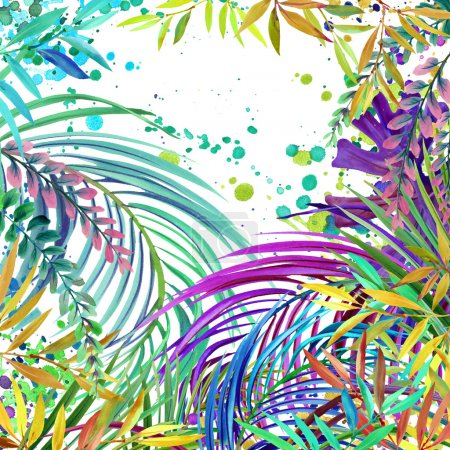 Watercolor Tropical nature background,  watercolor summer floral background