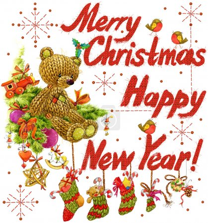 watercolor text  Wish Merry Christmas and Happy New Year. funny toy teddy bear. watercolor Christmas background. Wish Merry Christmas and funny teddy bear
