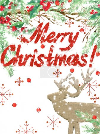watercolor Christmas background. winter holidays background. Wish Merry Christmas text. watercolor illustration Christmas tree, reindeer, mistletoe branch, mistletoe berry, snowflake.