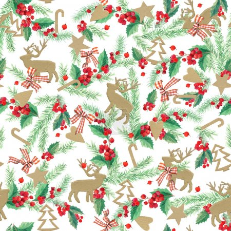 watercolor watercolor winter holidays background. illustration Christmas tree, mistletoe branch, mistletoe berry, snowflake. watercolor texture background