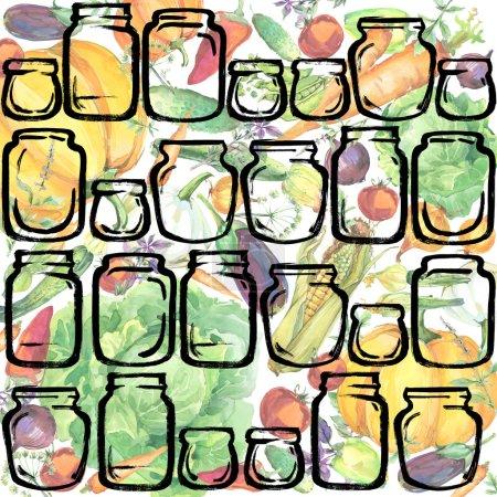 Vegetables. watercolor organic garden vegetables illustration. watercolor Canned vegetables and herbs background. pickled Vegetables background