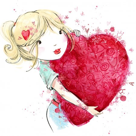 Cute girl with red heart. Valentine day. Watercolor illustration teen girl. watercolor drawing Valentines heart. Valentines day background for greeting card