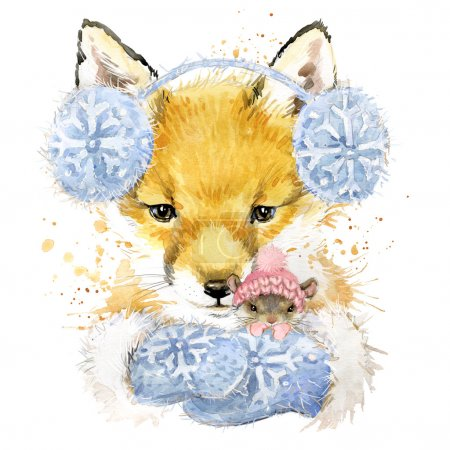 Photo for Cute fox T-shirt graphics, fox and mouse illustration with splash watercolor textured background. illustration watercolor winter fox for fashion print, poster for textiles, fashion design - Royalty Free Image