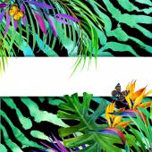Summer tropical concept for design. Watercolor tropical paradise with palm leaves, unusual flowers and butterfly on animal print background. Watercolor tropical nature.