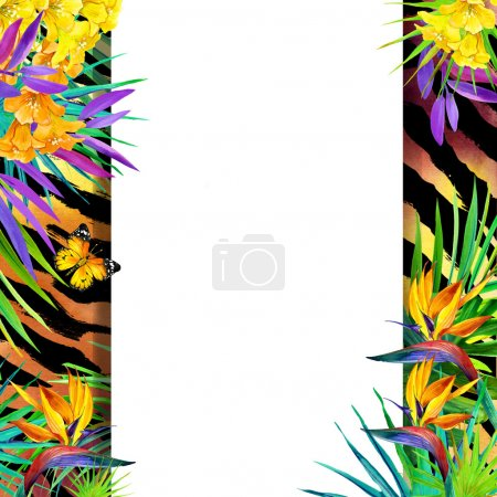 Wild nature design. Watercolor tropical background with palm leaves, unusual flowers and butterfly on tiger print background. Watercolor tropical nature. Animal print background