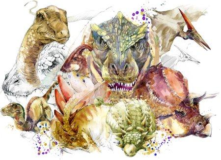 Dinosaur. Dinosaur set drawing watercolor. dinosaur animal illustration.