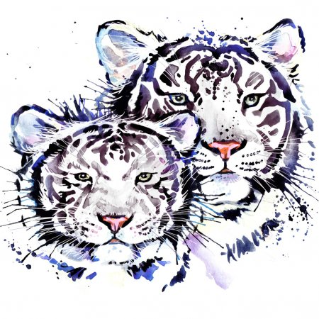 White tiger T-shirt graphics, watercolor tiger illustration with splash watercolor textured background. illustration watercolor tiger family for fashion print, poster for textiles, fashion design