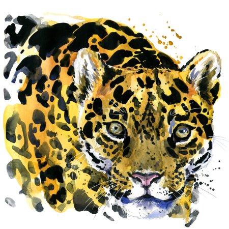 watercolor leopard. leopard T-shirt graphics. leopard illustration.  unusual illustration  puppy leopard for fashion print, poster, textiles, fashion design