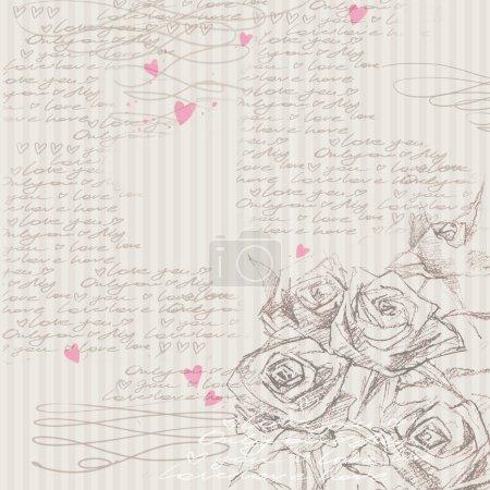 Watercolor rose flower. Rose background. Love. Flower romantic background. Love letter. Wedding design. Valentine day background. Sketch floral background. Rose flower sketch.