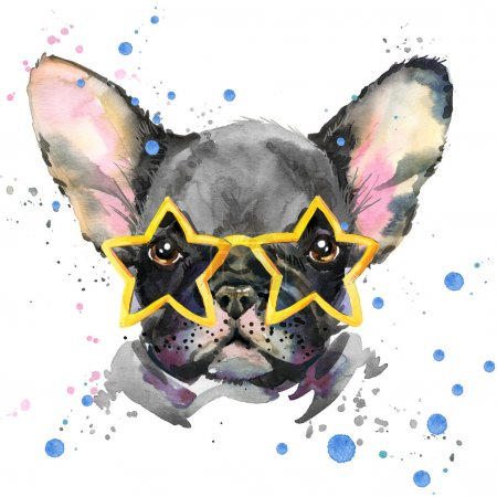 French Bulldog. Cute puppy dog. Watercolor puppy dog illustration. French Bulldog breed. unusual illustration watercolor puppy dog for fashion print, poster, textiles, fashion design