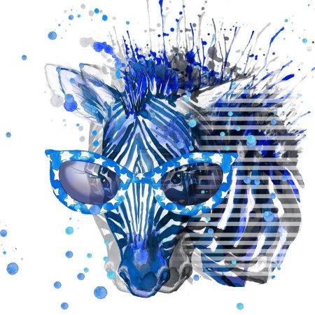 Zebra illustration. watercolor Zebra. Zebra T-shirt graphics design. illustration watercolor cute Zebra  for fashion print, poster for textiles, fashion design. glitch effect. glitch background