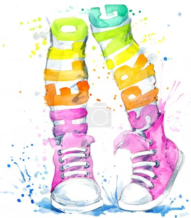 Teenager girl in sneakers. Watercolor sports shoes for walking. Hello Spring watercolor text. Watercolor spring background.