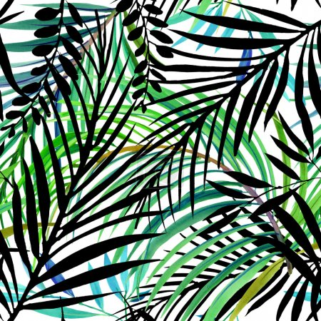 Watercolor tropical nature. Watercolor tropical background.  Tropical leaves and plant. watercolor summer floral background