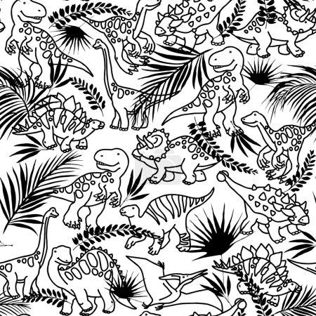 Dinosaur. Cartoon Dinosaur pattern. Funny Dinosaur and tropical plant background. Dinosaur animal sketch illustration background. Dinosaur Pattern