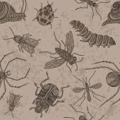 Insects Seamless on the old background