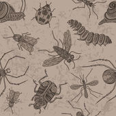 Insects. Seamless on the old background.