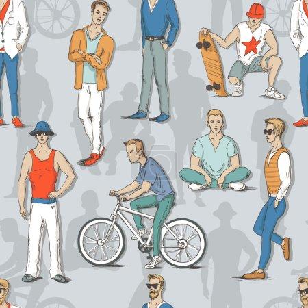 Illustration pour Modèle sans couture avec les jeunes gars dans le style de croquis. Un homme en costume, le type avec le skateboard, un vélo et un gars assis en position lotus. Illustration vectorielle pour carte de vœux, affiche ou impression sur vêtements . - image libre de droit