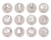 Hand drawn household appliances