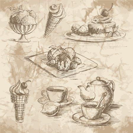 Illustration pour Esquisses des desserts, crème glacée et thé avec théière sur le vieux fond de papier. Illustration vectorielle . - image libre de droit