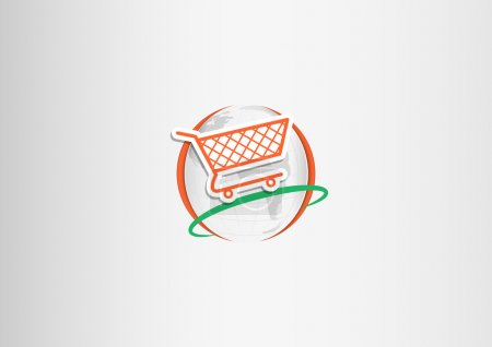 Paper shopping cart planet orange