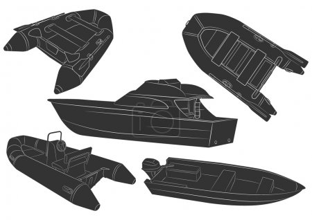 Illustration for Five height detailed fishing boats icons - Royalty Free Image
