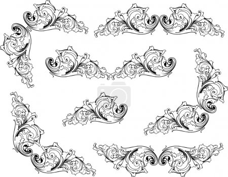 Illustration for Retro old-fashioned elegance vector patterns - Royalty Free Image