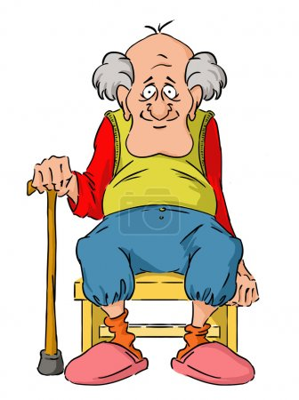 Illustration for Nice elderly Grandpa is sitting on a small stool. - Royalty Free Image