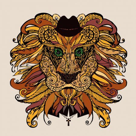 Vector illustration patterned head of the lion.