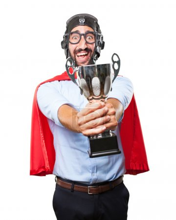 crazy hero with sport cup