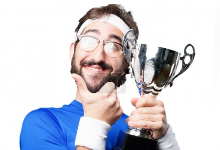 crazy sports man with cup