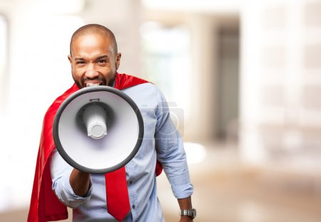 black young man with megaphone