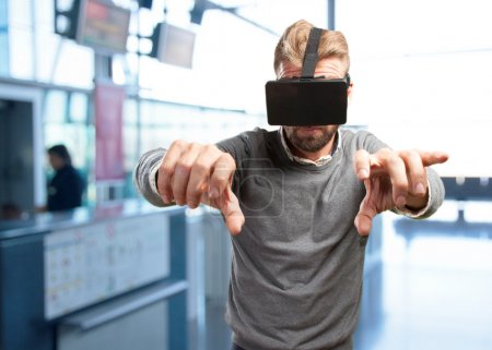 blond man with virtual glasses