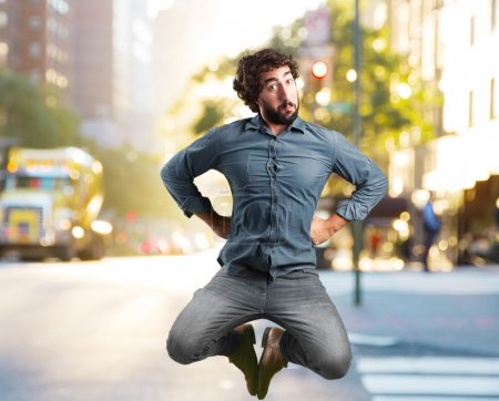 crazy man jumping with happy expression