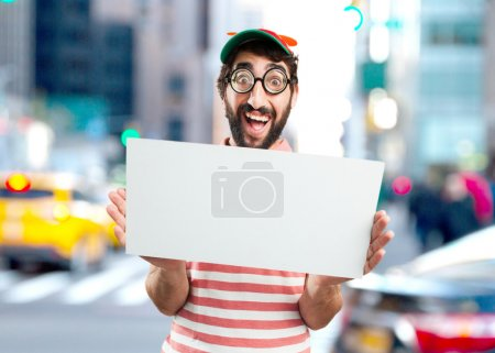 crazy young man with white blank
