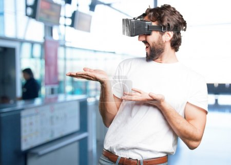 young man in virtual glasses