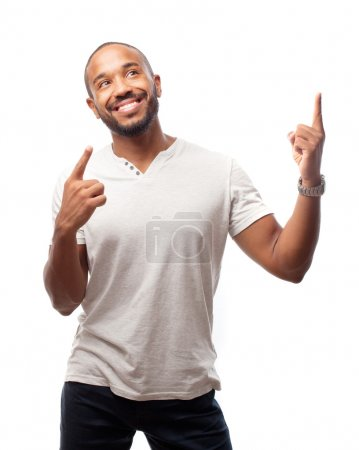 Young cool black man win gesture