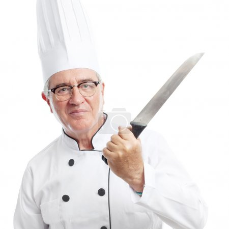 Senior cool man with a knife