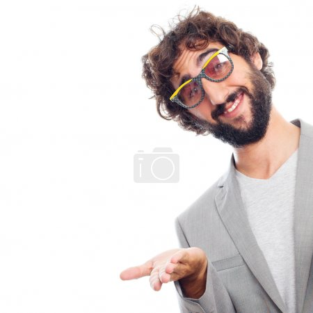 Young crazy man with sun glasses