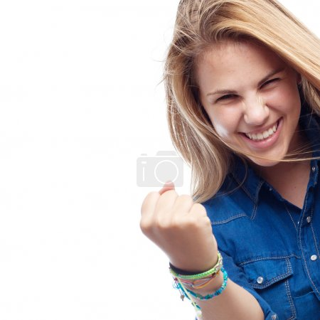young cool woman celebrating pose