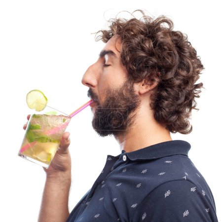 young crazy man drinking