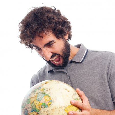 young bearded man with world globe