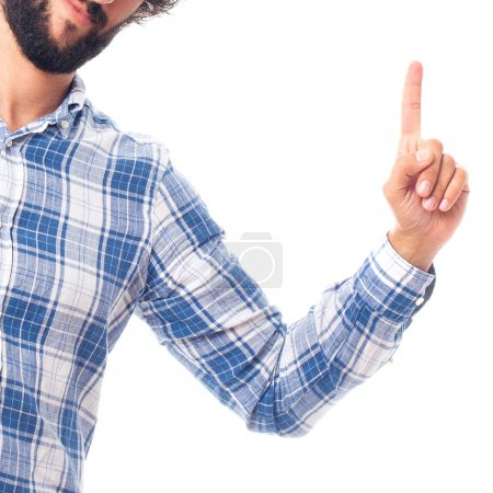young man pointing at up