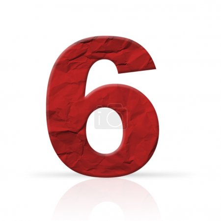 Photo for Six number red paper texture on white background - Royalty Free Image