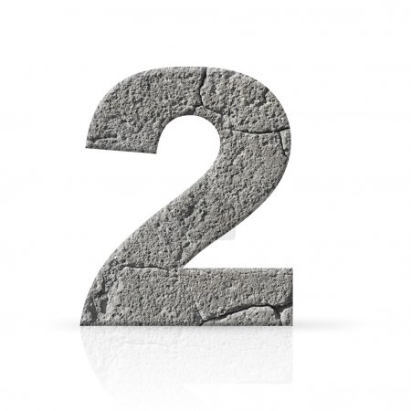 Photo for Two number cement texture on white background - Royalty Free Image