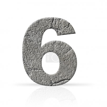 Photo for Six  number cracked cement texture on white background - Royalty Free Image