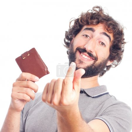 Young crazy man money gesture
