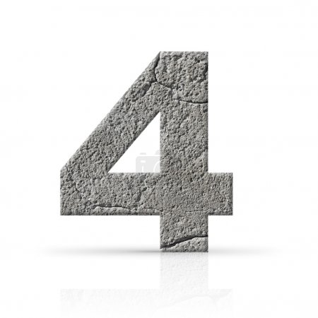 Photo for Four number cement texture on white background - Royalty Free Image